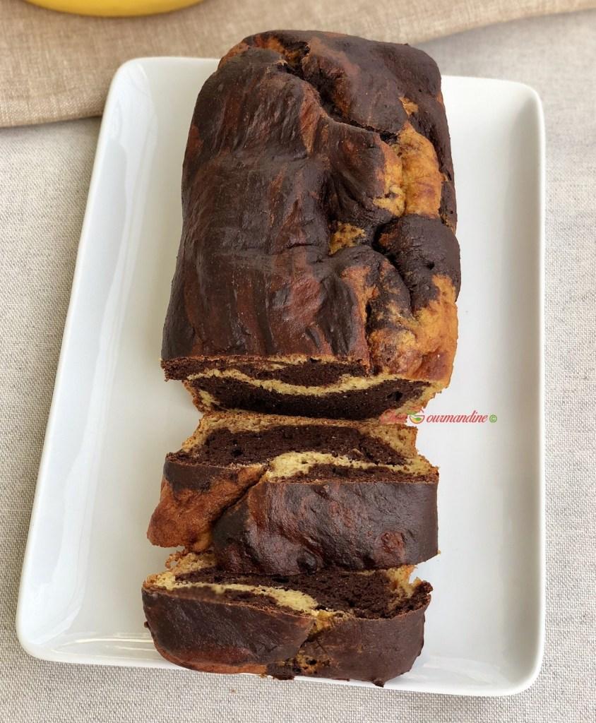 Cake marbré chocolat coco
