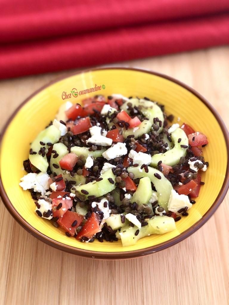 Salade lentilles riz féta
