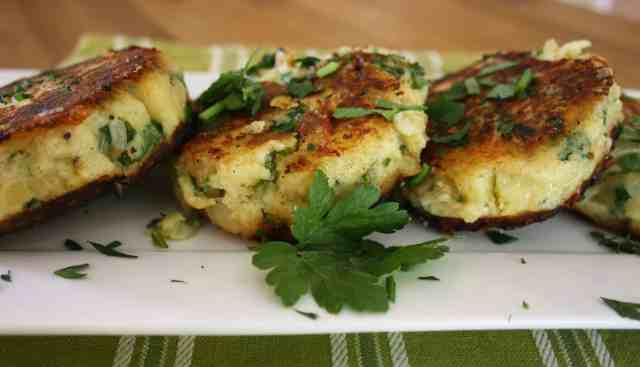A quick side dish of cheese and onion potato cakes using leftover baked potatoes with parsley or coriander.
