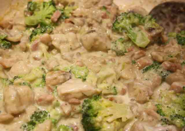 Chicken and Broccoli Pasta Bake. This is an easy dish with bacon and mushrooms which can be served straight away or baked in the oven.