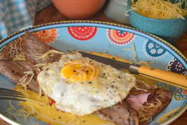 French Buckwheat galettes are gluten free pancakes filled with egg, cheese and ham for a tasty breakfast or lunch.
