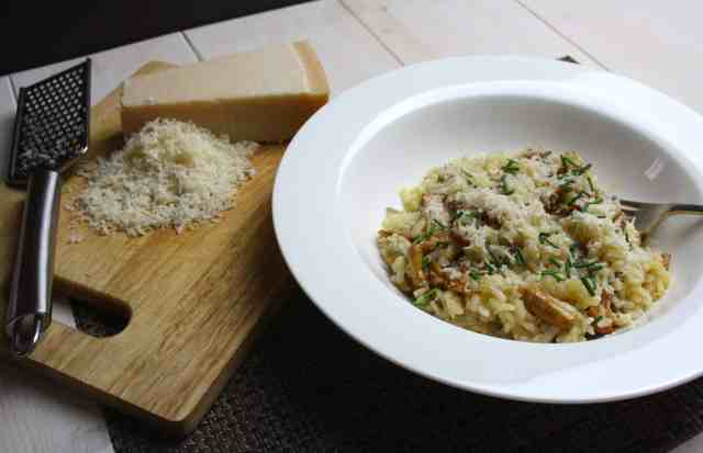 Wild Mushroom Risotto is simple to make and flavoured with Parmesan and chives. For this recipe I used girolle mushrooms but any mushroom will work.
