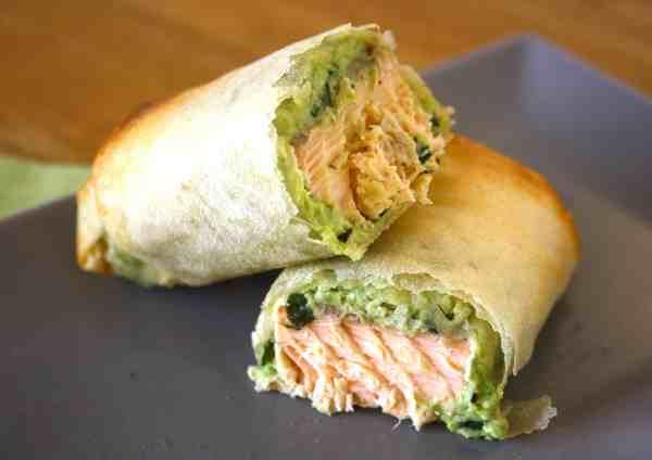 salmon and avocado parcel cut in half