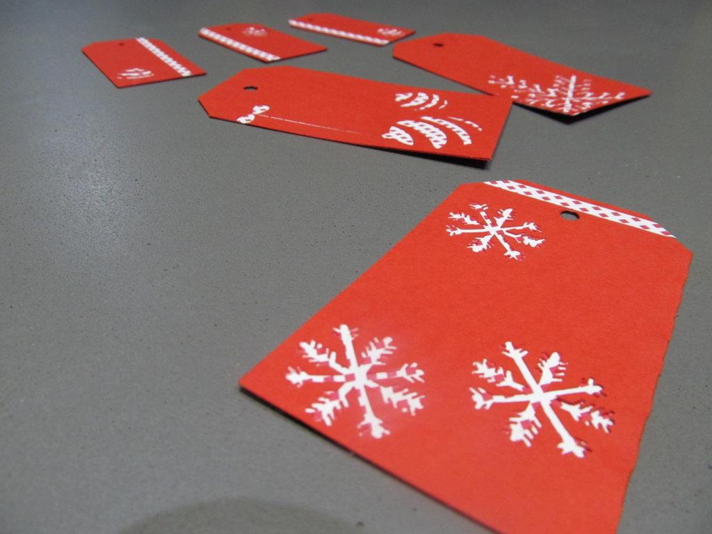 étiquettes cadeaux motif flocon