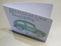 carte de baptême voiture bleue