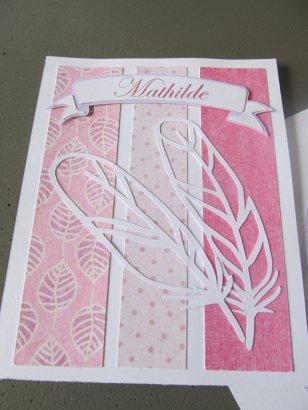 carte felicitations naissance plume rose (6)