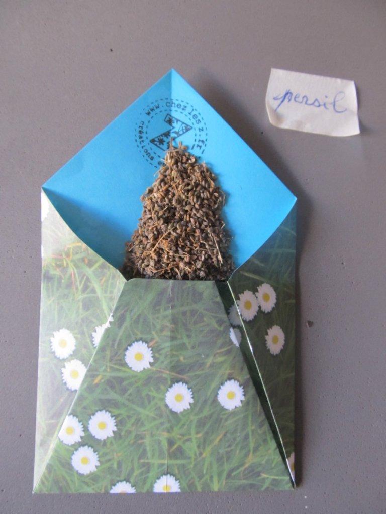 enveloppe en origami grainothèque