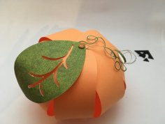 Citrouille en papier orange boule feuille verte DIY