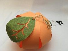Citrouille en papier orange boule feuille verte DIY