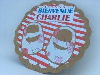 carte de naissance Charlie rayures et chaussures