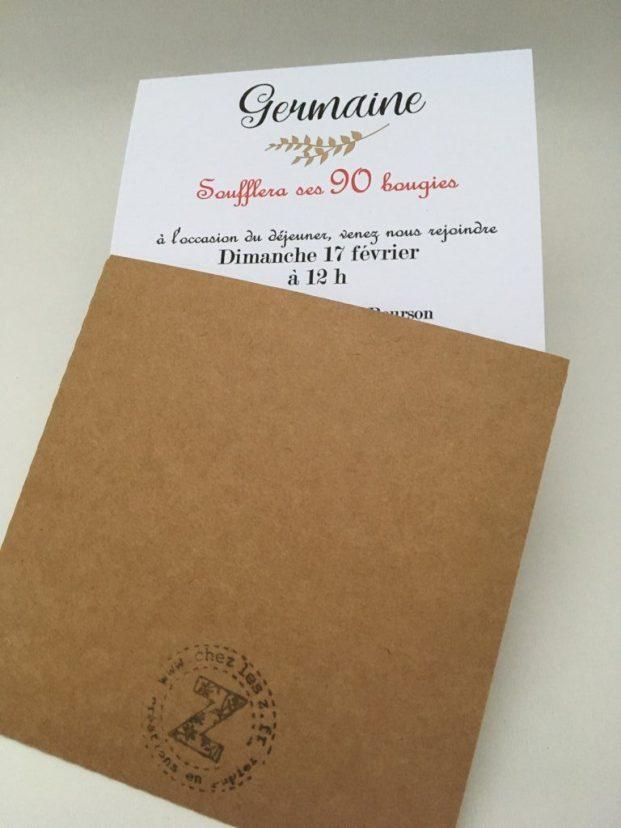 kraft invitation carte pochette verso