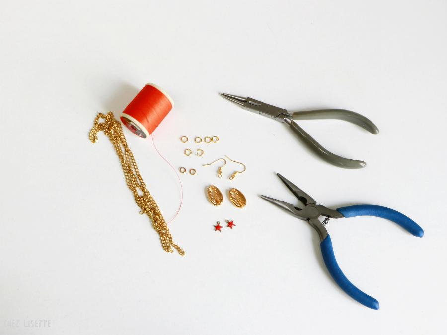 DIY boucles d'oreilles cauris - Chez Lisette 1