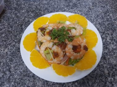 Gỏi tôm cam : Salade crevettes et orange