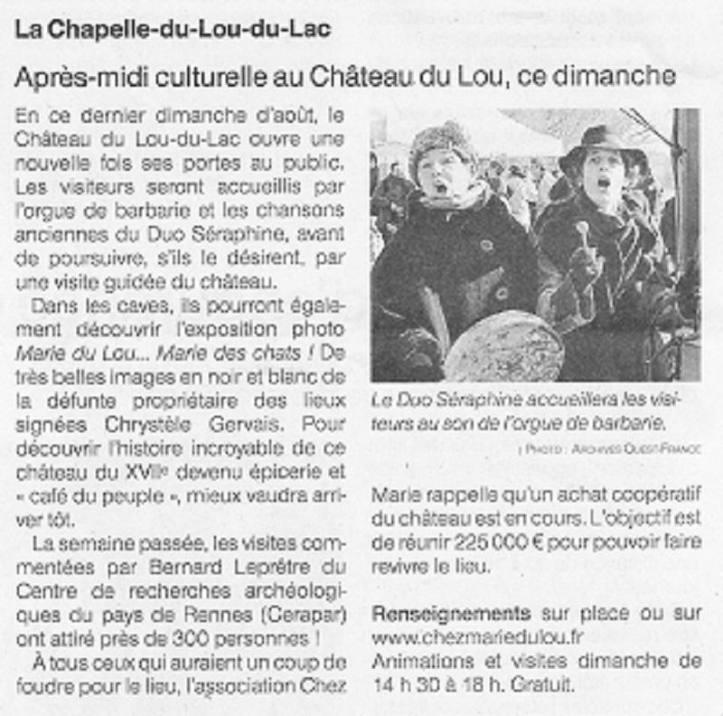 Ouest France 29-30 août 2020