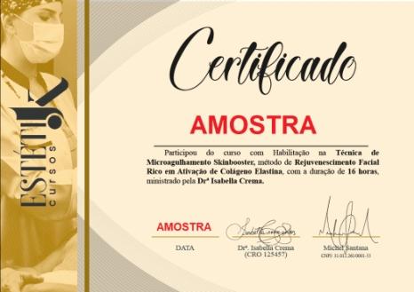 Certificado Microagulhamento Skinbooster