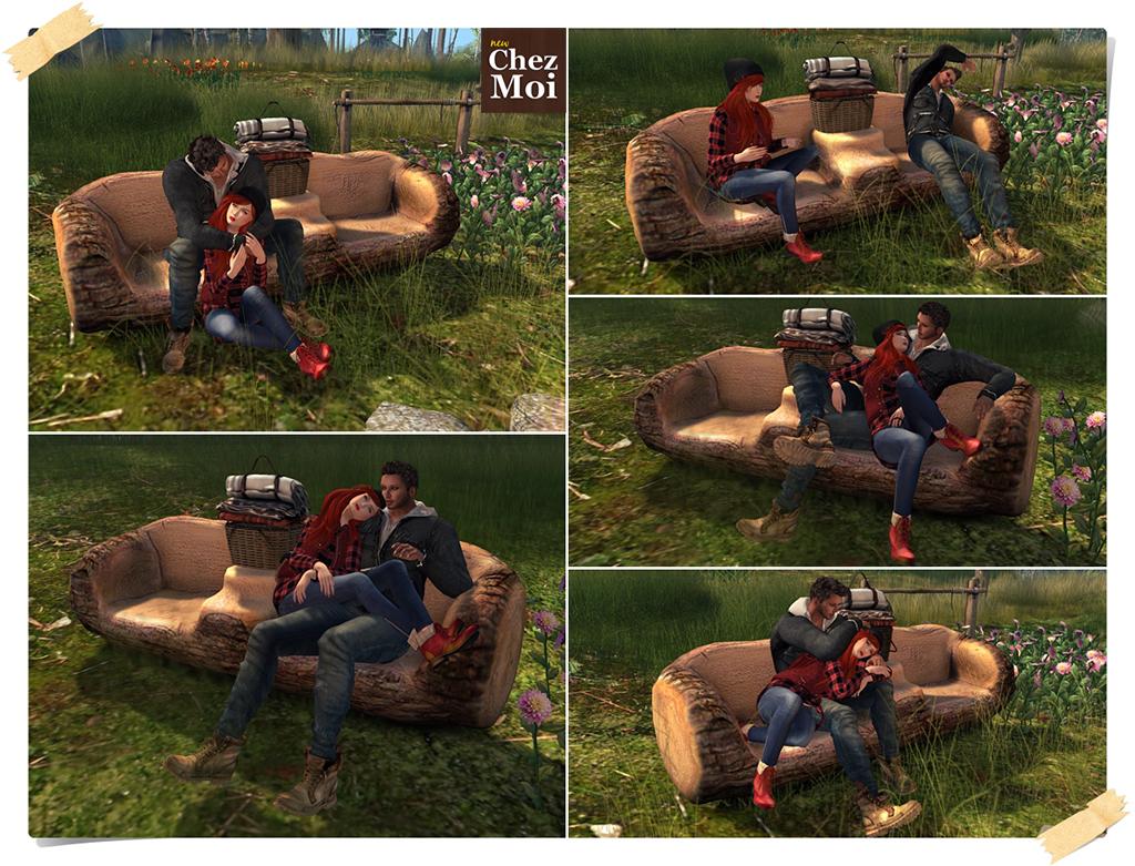 Camping Fun Log Sofa Couple Poses CHEZ MOI