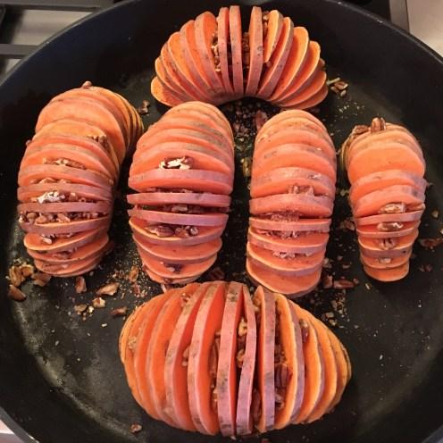 Sweet potatoes before baking.