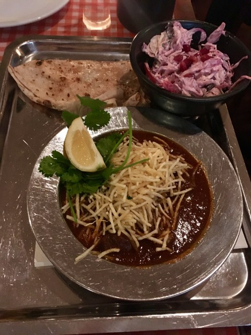 Second Dinner: Lamb Curry and Red Cabbage Slaw with Pomegranate