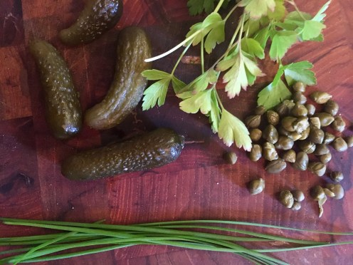 Fresh herbs and pickles for the Smoked Salmon Sandwiches.