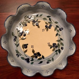 The winning prize! I love my new handmade ceramic pie dish!