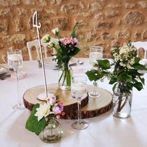 Trio de bougeoirs sur pied verre pour centre de table mariage Tours 37 indre et loire location