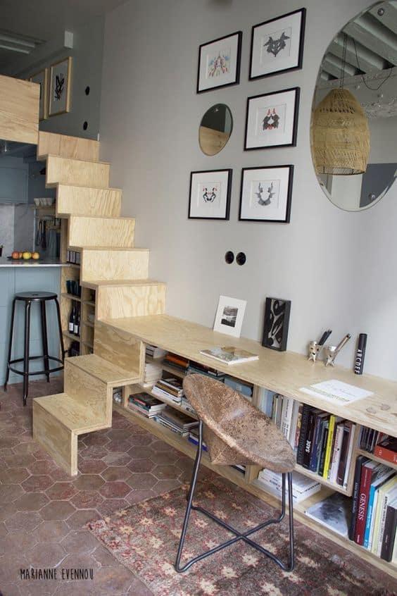 un bureau integre au rangements pour un studio - Inspiration Pinterest : comment bien aménager un studio