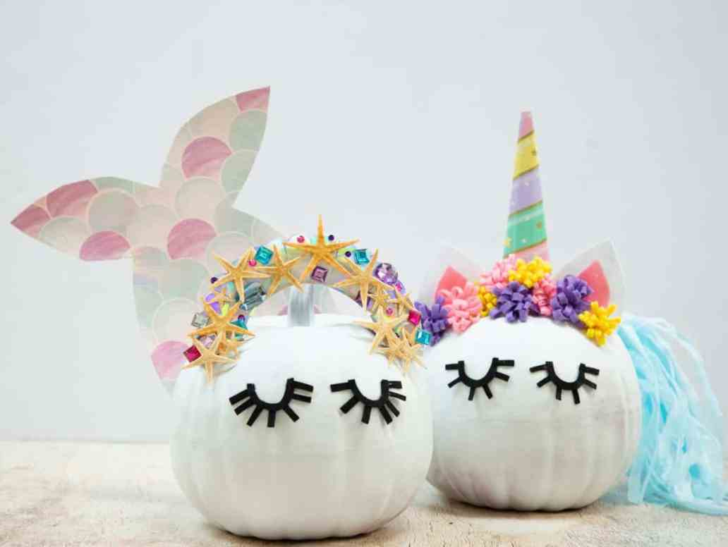 citrouille sirène et licorne  - 15 DIY originaux pour décorer la citrouille d'Halloween