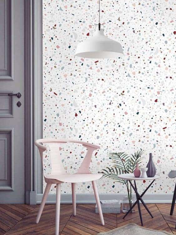 terrazzo papier peint salon  - La tendance terrazzo s'invite dans toute la maison