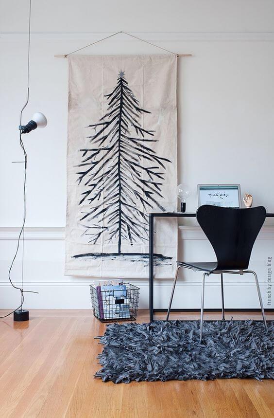 installer une toile ou une affiche à la place du sapin - 10 idées pour fabriquer le sapin de Noël