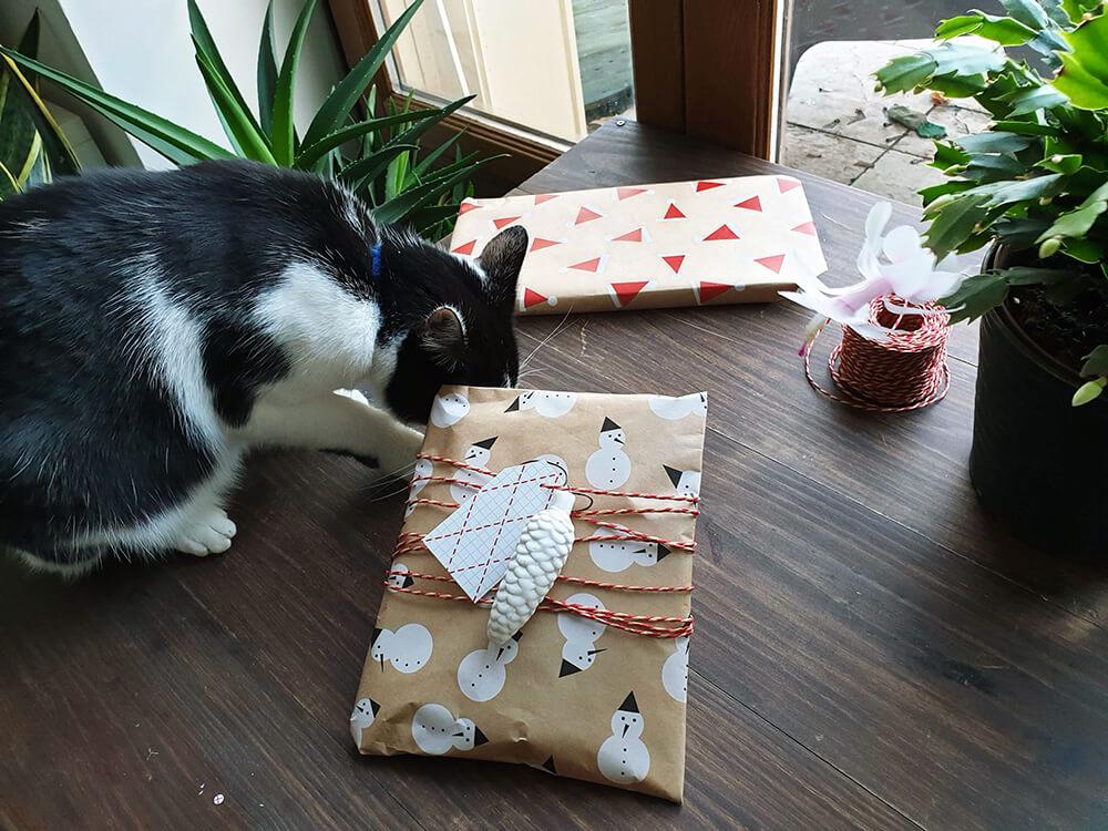 papier cadeau kraft ikea avec ficelle et deco en porcelaine - 7 idées d'emballage cadeau zéro déchet faciles à reproduire