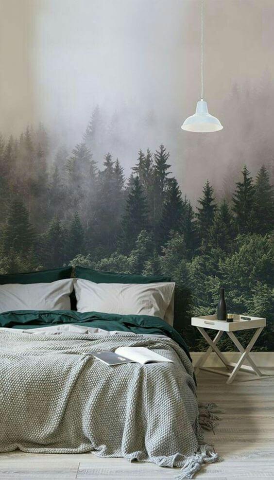 papier peint panoramique foret dans une chambre a coucher - Quel papier peint pour la chambre d'adulte ?