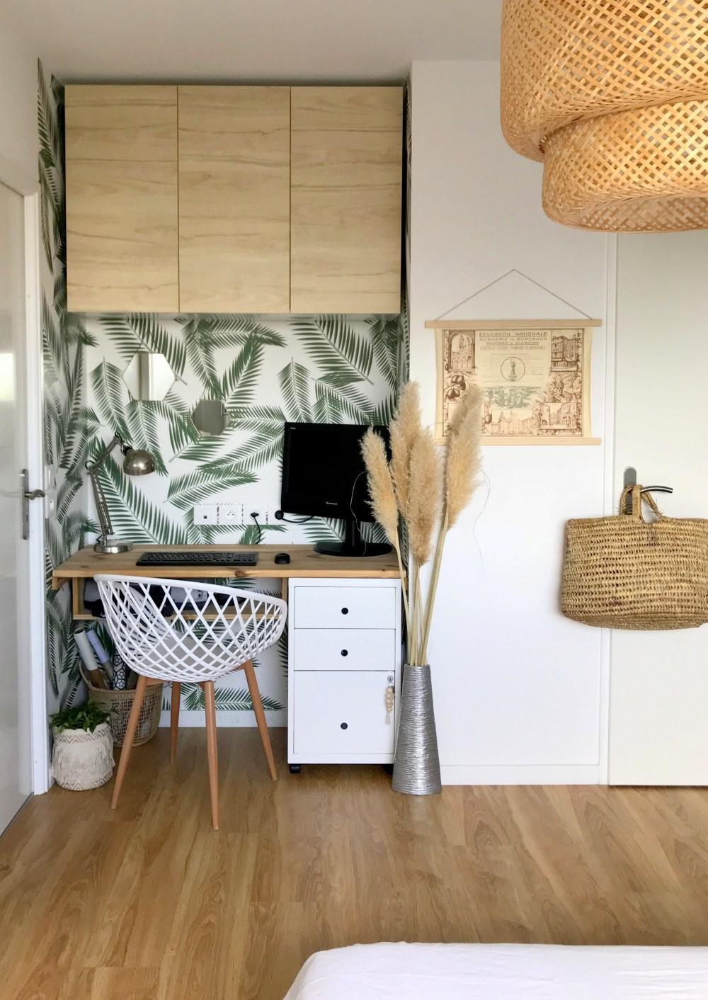 relooking bureau dans une alcove ambiance vegetale bois - Aménager un bureau dans un petit espace