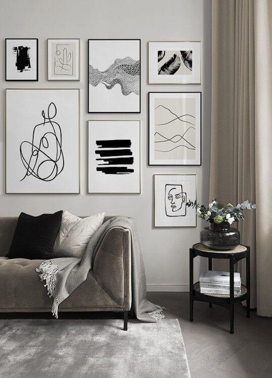 salon gris line art composition cadre 2 - Tendances meubles et décoration 2021 : le grand décryptage