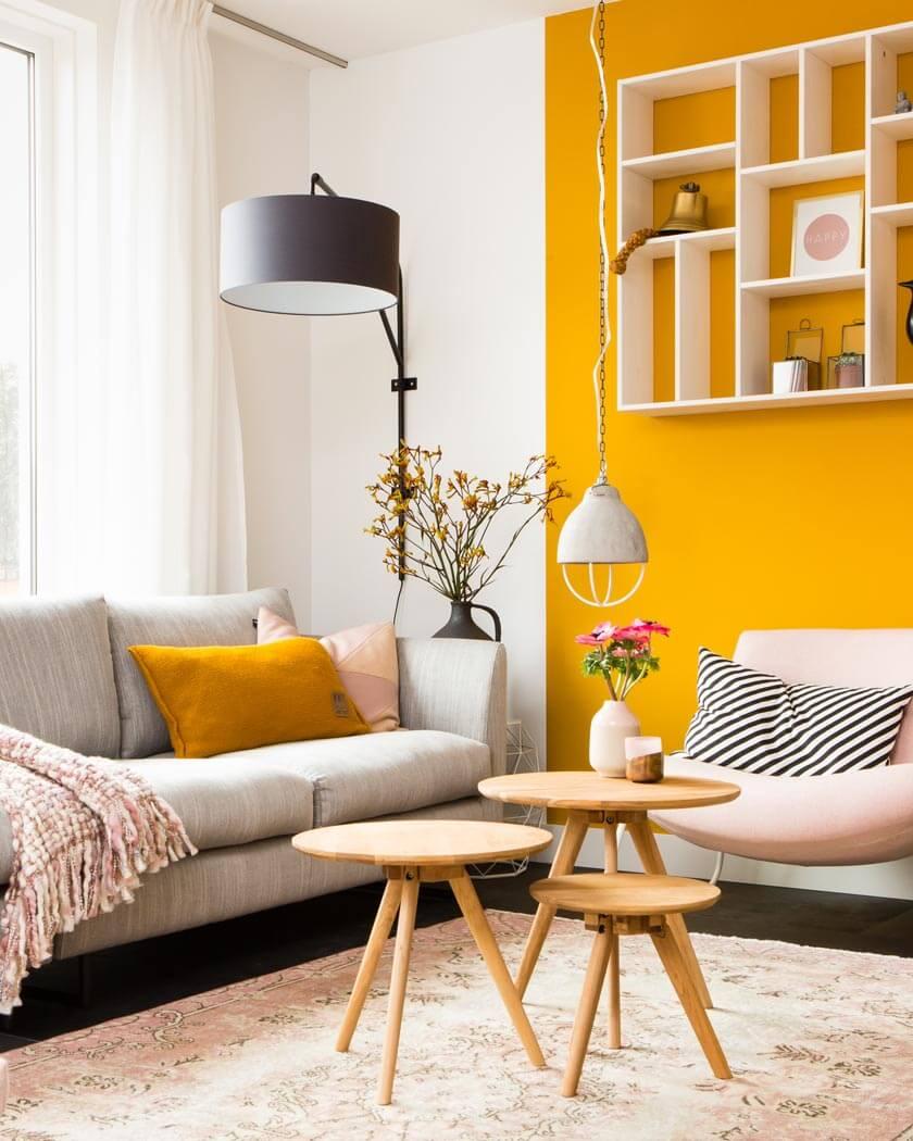 couleur jaune moutarde deco 2 salon mur - 15 philosophies décoratives qui vous veulent du bien !