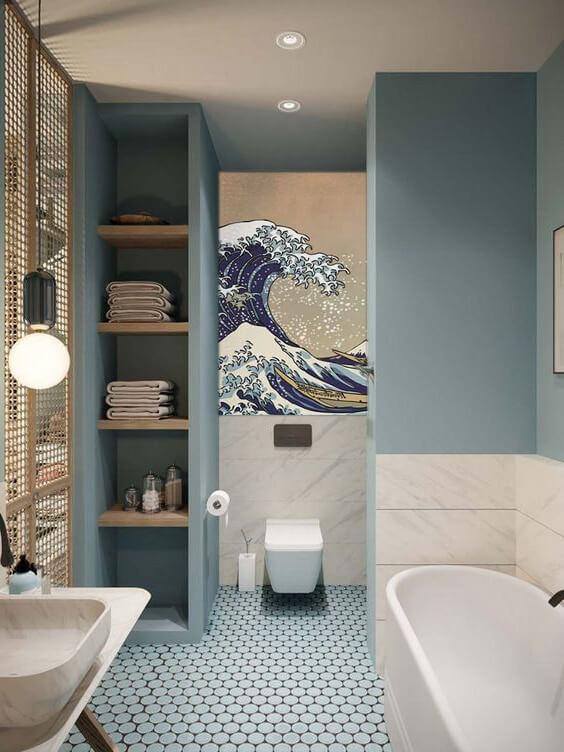papier peint salle de bain bleu - Inspiration : 10 idées déco pour la salle de bain à repiquer