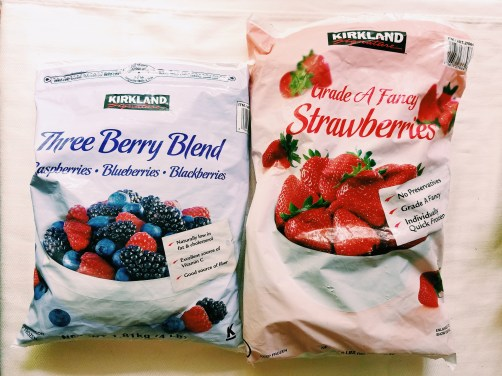 Kirkland Signature Frozen Three Berry Blend and Strawberries