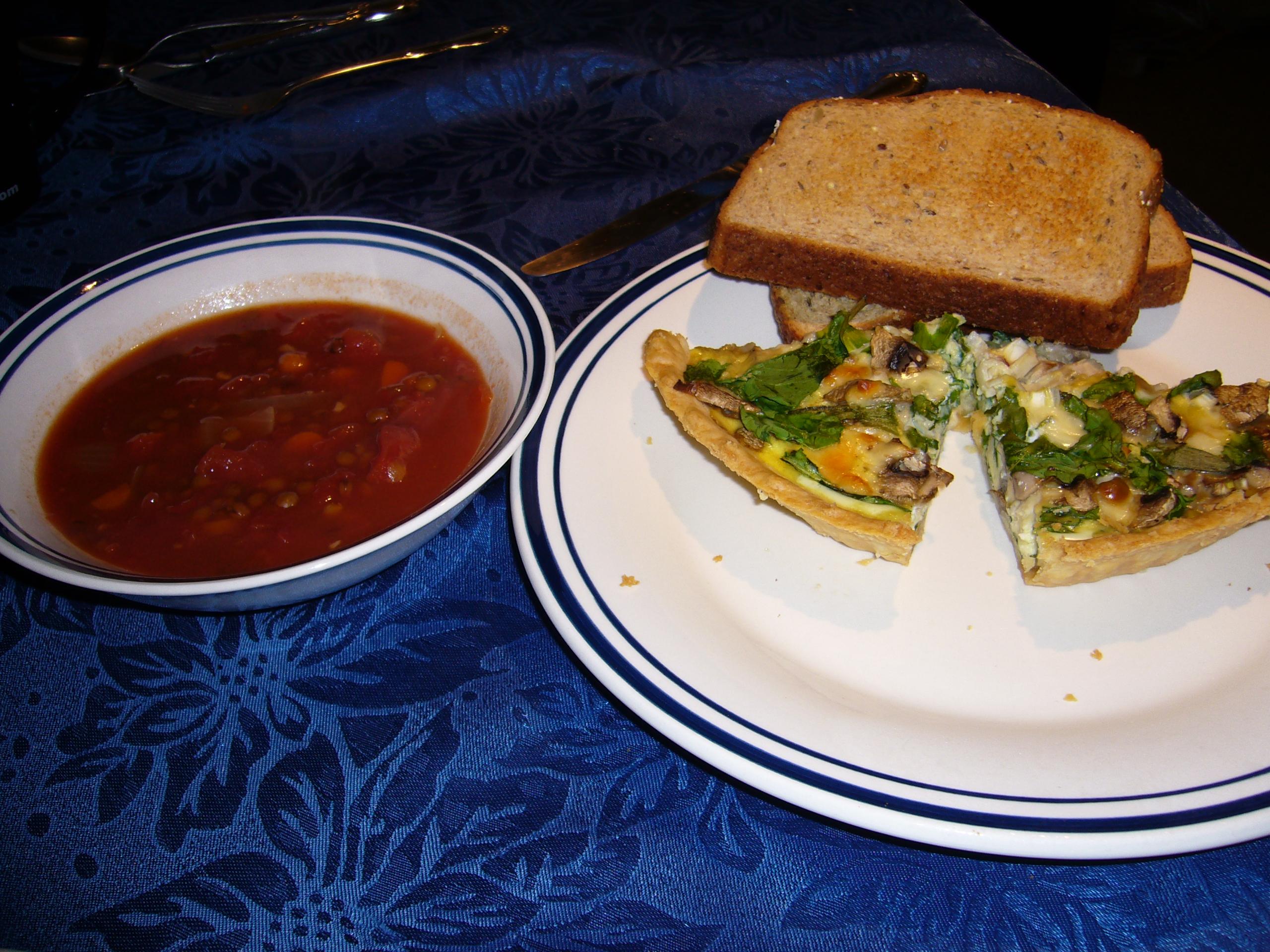 quiche and lentil soup