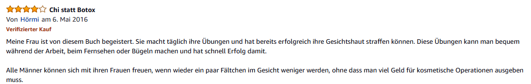 Amazon Rezension Chi-statt-Botox