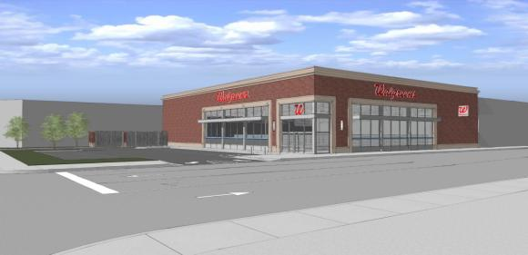 Walgreens wants to build this single-level store and corner parking lot in place of a multi-story office building. Image: Walgreens.