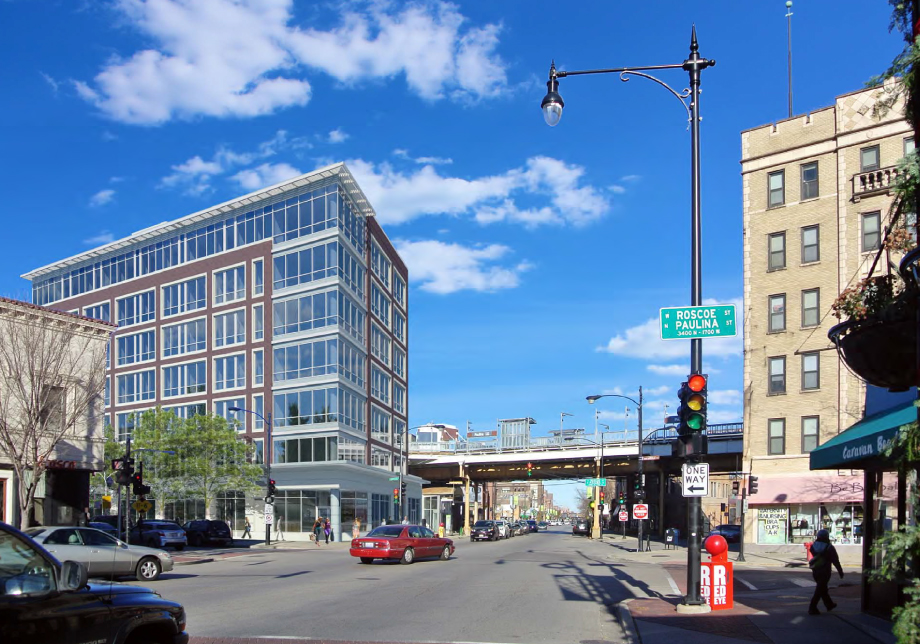 The proposed apartment building overlooks the Paulina Brown Line station, and would increase density in a walkable neighborhood.
