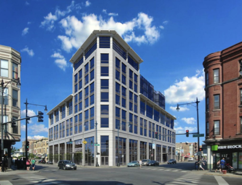 View from across the corner of Clark and Belmont. Groundbreaking is set for this year, and occupancy is expected in 2016. Image: Hirsch Associates / BlitzLake Capital Partners.