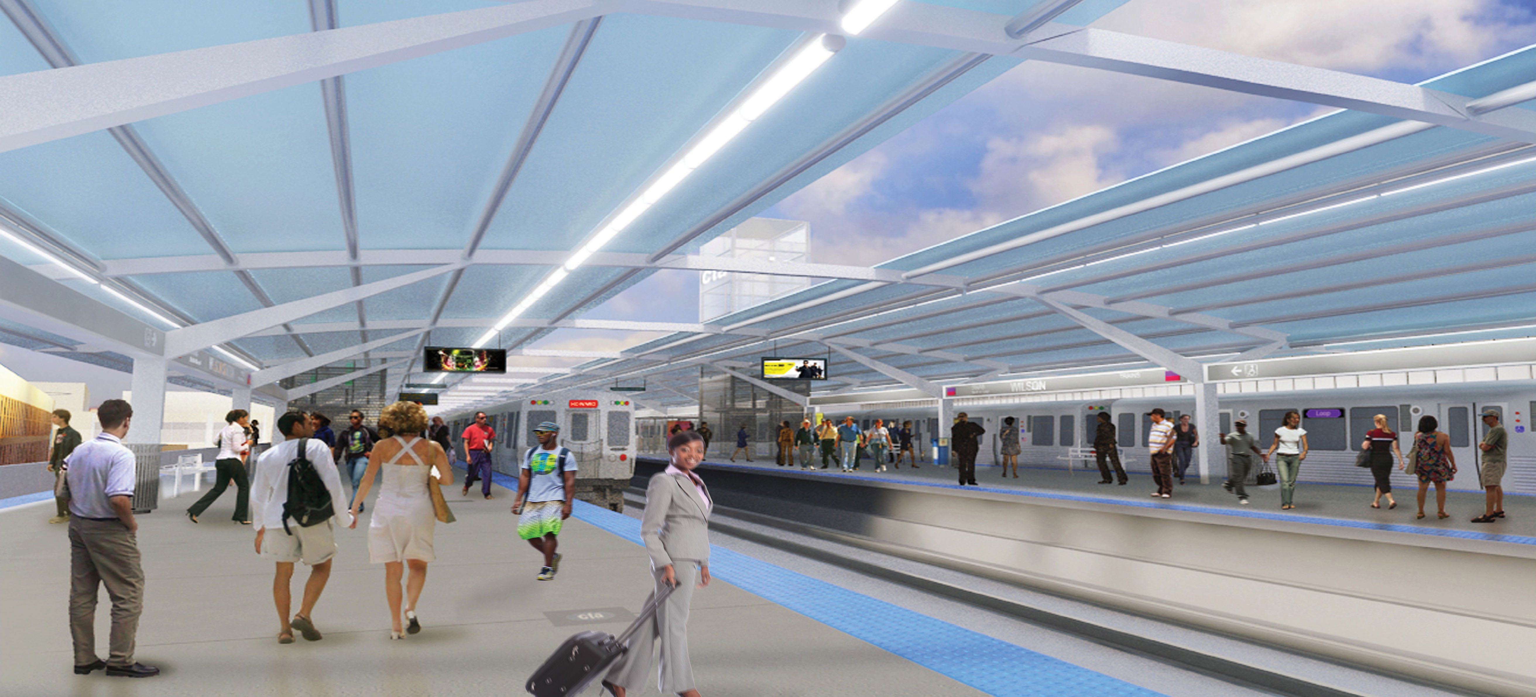 """Rendering of the new """"island"""" platforms."""