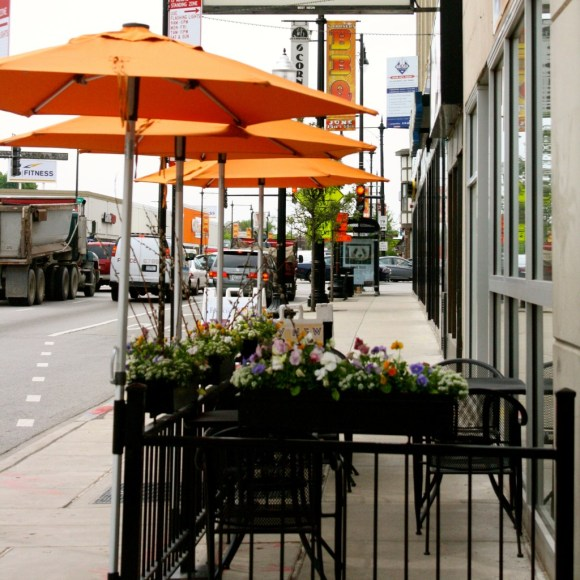 City Newsstand and their sidewalk café will be getting an on-street bike parking corral if $10,000 is raised.