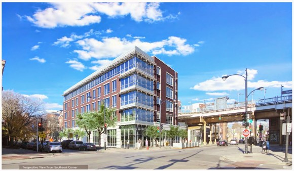 The proposed mixed-use residential building at 3400 N Lincoln Avenue would have 31 to 48 units and nine car parking spaces. Rendering: Centrum Partners