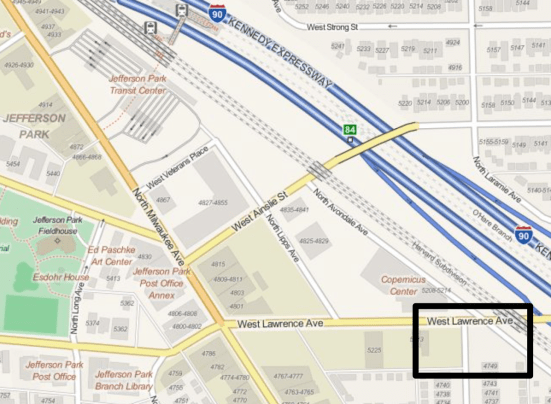 Map of proposed mixed-use development on Lawrence Ave