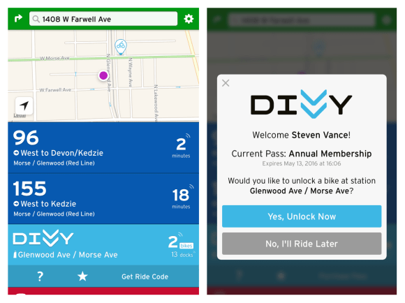 If you're at Rogers Park Social and open Transit, you'll see a result for the nearby Divvy station. If you're signed in to your annual membership account you'll see a button to get a ride code to unlock the bike without a key fob.