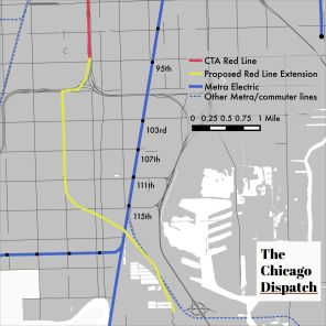 map of Metra Electric district and proposed Red Line extension