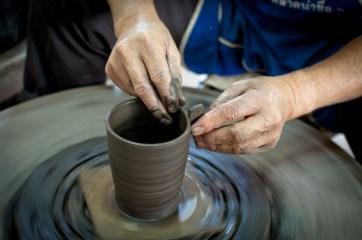 in the potter's studio