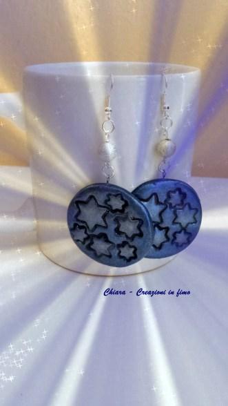 orecchini in fimo stelle blu