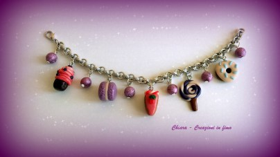 bracciale in fimo dolcetti e perline